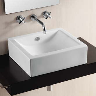Bathroom Sink Rectangular White Ceramic Vessel Bathroom Sink Caracalla CA4042