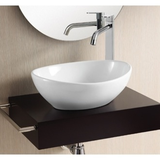 Oval White Ceramic Vessel Bathroom Sink Caracalla CA4047
