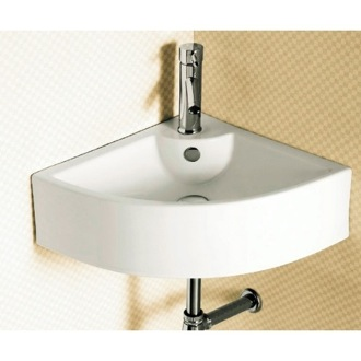 Corner White Ceramic Wall Mounted or Vessel Bathroom Sink Caracalla CA4053