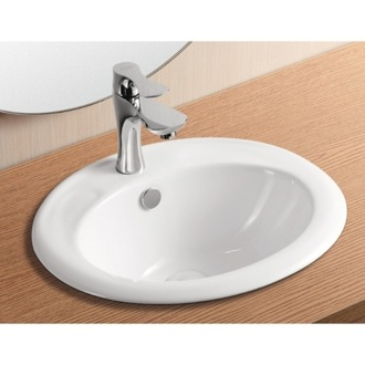 Bathroom Sink Oval White Ceramic Self Rimming Bathroom Sink CA4055 Caracalla CA4055