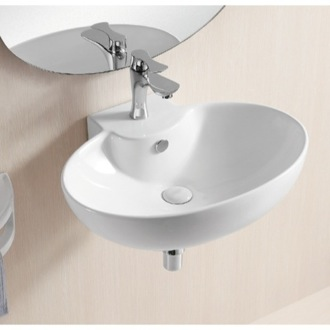 Oval White Ceramic Wall Mounted Bathroom Sink Caracalla CA4105