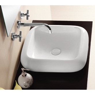 Square White Ceramic Vessel Bathroom Sink Caracalla CA412
