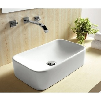 Bathroom Sink Rectangular White Ceramic Vessel Bathroom Sink Caracalla CA4120