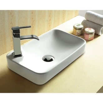 Bathroom Sink Rectangular White Ceramic Self Rimming bathroom Sink CA4121A Caracalla CA4121A
