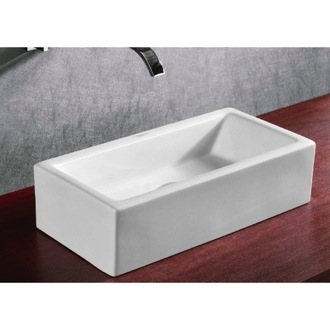 Bathroom Sink Rectangular White Ceramic Vessel Bathroom Sink Caracalla CA4130
