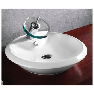 Bathroom Sink Round White Ceramic Vessel Bathroom Sink Caracalla CA4140