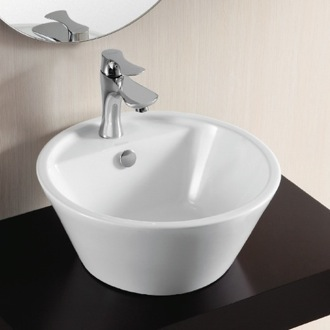Round White Ceramic Vessel Bathroom Sink Caracalla CA4141