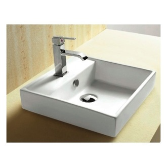 Bathroom Sink Square White Ceramic Self Rimming Bathroom Sink CA4148A Caracalla CA4148A