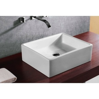 Square White Ceramic Vessel Bathroom Sink Caracalla CA4158