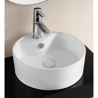 Round White Ceramic Vessel Bathroom Sink Caracalla CA4161