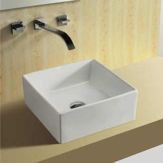 Square White Ceramic Vessel Bathroom Sink Caracalla CA4169