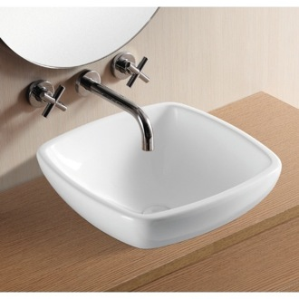 Square White Ceramic Vessel Bathroom Sink Caracalla CA4252