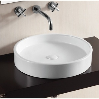 Bathroom Sink Circular White Ceramic Vessel Bathroom Sink Caracalla CA4261