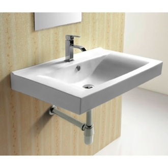 Bathroom Sink Rectangular White Ceramic Wall Mounted bathroom Sink CA4270B Caracalla CA4270B