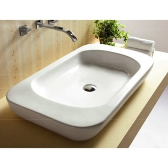 Rectangular White Ceramic Vessel Bathroom Sink Caracalla CA4278