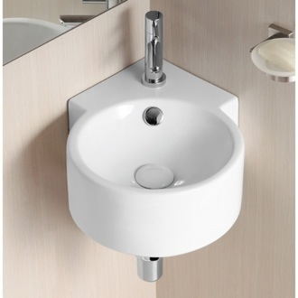 Round White Ceramic Wall Mounted Corner Bathroom Sink Caracalla CA4296