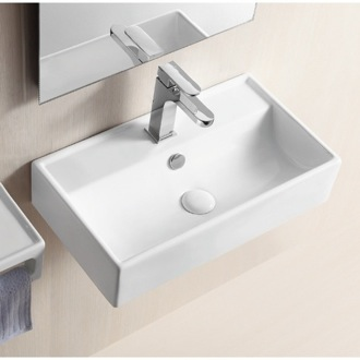 Rectangular White Ceramic Wall Mounted Or Vessel Bathroom Sink Caracalla CA4335