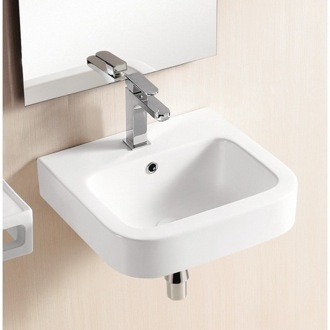 Bathroom Sink Square White Ceramic Wall Mounted Or Vessel Bathroom Sink CA440 Caracalla CA440