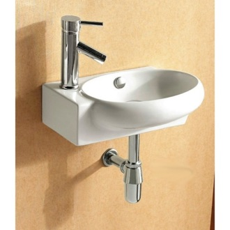 Bathroom Sink Round White Ceramic Wall Mounted or Vessel Bathroom Sink CA4522 Caracalla CA4522