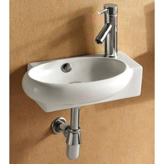 Bathroom Sink Round White Ceramic Wall Mounted or Vessel Bathroom Sink CA4522B Caracalla CA4522B