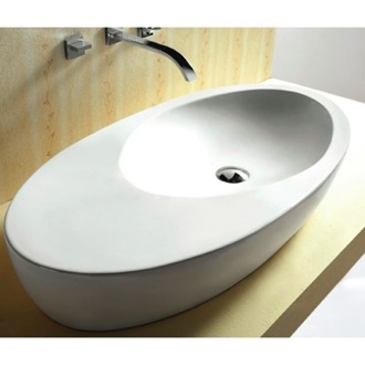 Bathroom Sink Oval White Ceramic Vessel Bathroom Sink CA4527 Caracalla CA4527