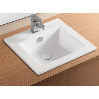 Bathroom Sink Square White Ceramic Self Rimming Bathroom Sink CA4583 Caracalla CA4583