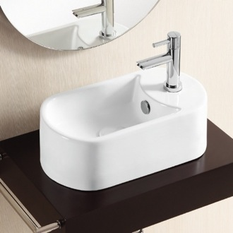 Oval White Ceramic Vessel Bathroom Sink Caracalla CA4800