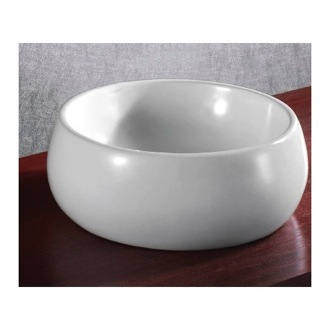 Circular White Ceramic Vessel Bathroom Sink Caracalla CA4921