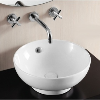 Round White Ceramic Vessel Bathroom Sink Caracalla CA4947