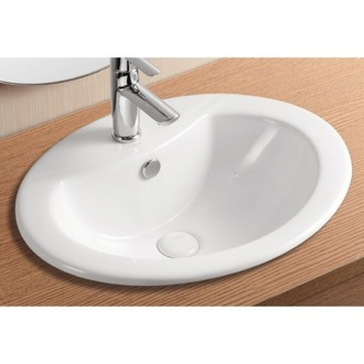 Bathroom Sink Oval White Ceramic Self Rimming Bathroom Sink CA902 Caracalla CA902