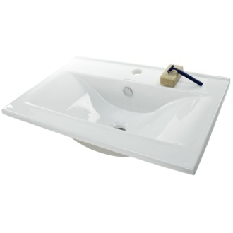 Bathroom Sink Rectangular White Ceramic Self Rimming Bathroom Sink CA4913-620 Caracalla CA4913-620