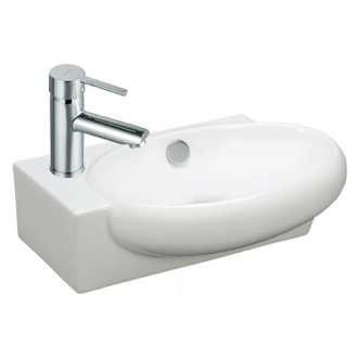 Bathroom Sink and Faucet Set White Ceramic Sink and Faucet Combo Caracalla FAU503