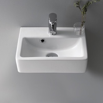 Small Ceramic Wall Mounted or Vessel Sink CeraStyle 001400-U