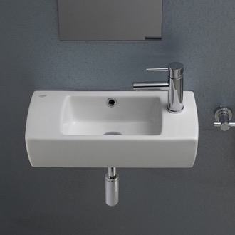 Small Rectangular Ceramic Wall Mounted Or Drop In Bathroom Sink Cerastyle 001500 U