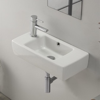Bathroom Sink Small Rectangular Ceramic Wall Mounted Or Drop In Cerastyle 001600 U