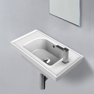 Rectangle White Ceramic Wall Mounted or Drop In Sink CeraStyle 001700-U