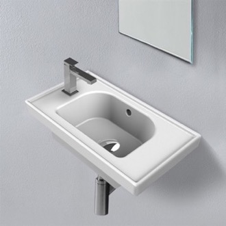 Rectangle White Ceramic Wall Mounted or Drop In Sink CeraStyle 001800-U