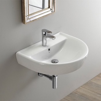 Round White Ceramic Wall Mounted Sink CeraStyle 003100-U