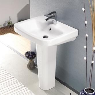 pedestal bathroom sinks. Bathroom Sink Rectangular White Ceramic Pedestal CeraStyle 007700U PED Sinks  TheBathOutlet com