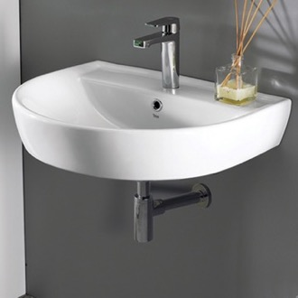 Round White Ceramic Wall Mounted Sink CeraStyle 007800-U