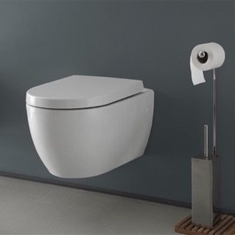 White Ceramic Wall Mount Toilet CeraStyle 018700