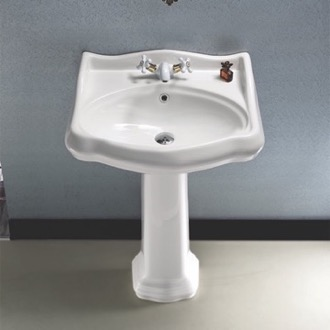 Classic-Style White Ceramic Pedestal Sink CeraStyle 030200-PED
