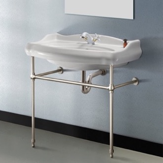 Traditional Ceramic Console Sink With Satin Nickel Stand CeraStyle 030300-CON-SN