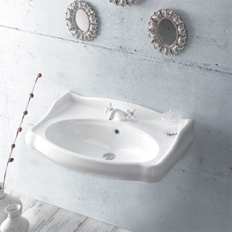 Rectangle White Ceramic Wall Mounted Sink CeraStyle 030300-U