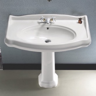 Classic-Style White Ceramic Pedestal Sink CeraStyle 030400-PED