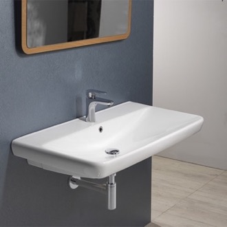 Rectangle White Ceramic Wall Mounted or Drop In Sink CeraStyle 030500-U