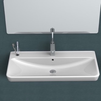 Bathroom Sink Rectangle White Ceramic Wall Mounted or Self Rimming Sink CeraStyle 030700-U