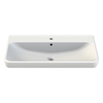 Bathroom Sink Rectangle White Ceramic Wall Mounted or Self Rimming Sink 030500-U CeraStyle 030500-U