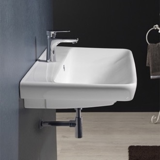 Rectangle White Ceramic Wall Mounted or Drop In Sink CeraStyle 030600-U