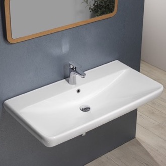 Rectangle White Ceramic Wall Mounted or Drop In Sink CeraStyle 030700-U